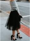 Women Mesh Tulle Skirt Elastic Waist Solid Color Pleated Midi Prom Skirt