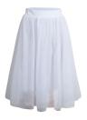 Frauen Mesh Tüll Rock Elastische Taille Solid Color Plissee Midi Prom Rock