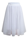 Women Mesh Tulle Skirt Elastic Waist Solid Color Pleated Midi Prom Skirt