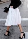 Женская сетка Тюль Юбка Эластичная талия Сплошной цвет Плиссированные юбки Midi Пром