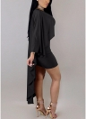 Femmes Mini Wiggle Bodycon Cape Robe Batwing Manches Clubwear Party Dress
