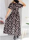 Les femmes en mousseline de soie robe maxi imprimé floral Split Slim Beach vacances longue robe