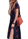 Women Midi Dress Floral Print  Split Short Sleeve Slim Beach Holiday Dress