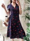 Women Midi Dress Floral Print  Split Short Sleeve Slim Beach Holiday Dress