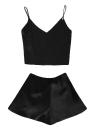 Silk Satin Deep V Neck Cami Лучшие шорты Комплект для пижам