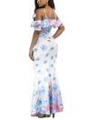 Cold Shoulder Flower Print Beach Boho Maxi Dress