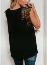 Women Tank Top Sheer Chiffon Floral Lace  Sleeveless Eyelash Solid Sexy Blouse