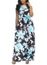 Floral Print Sleeveless Boho Beach Dress