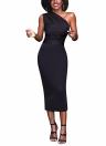 One Shoulder High Waist Sleeveless Bodycon Midi Dress