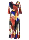 Long  Color Block 3/4 Sleeve Boho Beach Dress