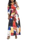 Длинный цветной блок 3/4 Втулка Boho Beach Dress