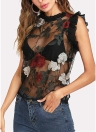 Sheer Mesh Floral Broderie Volants Sans Manches O-Neck Blouse