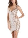 Women Sequins Dress Sleeveless Cut Out Back Asymmetrical Hem Party Dress