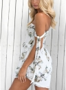 Femmes Backless Floral Imprimer Combinaison Cordon Romper Combishort Beach Party Short Survêtements