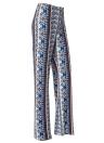 Calças de perna larga de impressão Floral das mulheres cintura alta sino calças de flare inferior