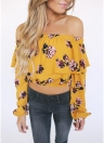 Floral Print Crop Top Off the Shoulder Ruffles Lantern Long Sleeve Loose Blouse