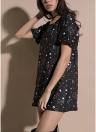 Cat Print Tee Dress O Neck Short Sleeve Casual Long T-Shirt Top Tunic Dress