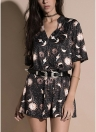 Short Sleeves V-Neck Moon Planet Print Casual Straight Mini Loose Dress