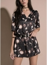 Mangas curtas com decote em v lua planeta impressão casual reta mini vestido solto