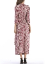 Bohemian Floral Print Cross Front Ceinture V-Neck manches 3/4 Maxi Dress
