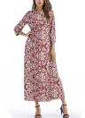 Bohemian Floral Print Cross Front Belt V-Neck 3/4 Sleeves Maxi Dress