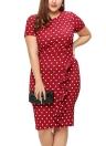 Plus Size Slim Polka Dot Print Ruffle Split Short Sleeves O-Neck Zipper Mini Bodycon Dress