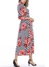 Stripe Floral V-Neck 3/4 Sleeve Belted Bohemian Maxi Dress