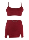 Cross Strap Crop Top Backless Bodycon Suede Two Piece Set