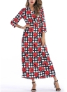 Bohemian Dot Print V Neck Three Quarter Sleeve Bandage Tie Split Slim Maxi Dress