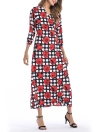Bohemian Dot Imprimer V Neck trois quarts manches bandage cravate Split Maxi Dress