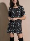 Print Long T-Shirt O Neck Short Sleeves Summer Casual Long Tee