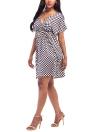 Vestido de tartán floral de tallas grandes Vestido de cintura alta elástico con cuello en V V manga corta