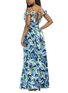 С плеч Maxi Платье спагетти ремни оборки Deep V Шея Высокий Slit Открытое платье