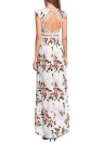 Chiffon Floral Bohemian V Neck High Low Asymmetric Backless High Waist Maxi Gown Dress