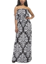 Plus Size Ethnic Contrast Printed Strapless Bandeau Ruffle Open Back Maxi Dress