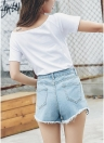 Off-The-Shoulder manga corta sólido delgado casual túnica Top Tees