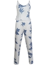 Cami Tank Top Pants Leaf Print V Neck Backless Zip Back Vest Trousers 2Pcs