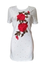 Bordado ahueca hacia fuera el o-cuello manga corta túnica casual mini camiseta vestido