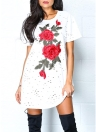 Embroidery Hollow Out O-Neck Short Sleeve Casual Tunic Mini T-Shirt Dress