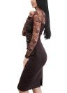 Vestido de tubo de encaje con pliegues en la parte posterior con pliegues