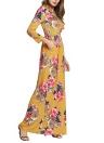 Bohemian Contrast Floral Print Round Neck High Waist Pockets Maxi Gown Dress