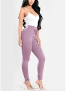 Lace Up Skinny Pants High Waist Pencil Pants Solid Slim Trousers