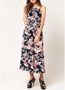 Bohemian Floral ärmelloses Kleid Strand Strap Sommerkleid Vestidos