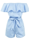 Striped Off the Shoulder Ruffle Slash Neck High Waist Belt Playsuit
