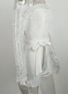 Solid Floral Lace Off Spalla smerlato ciglia cinture a maniche lunghe