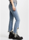 Fringed Denim Split Hem Flare Pants Washed Jeans