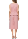 Plus Size O Neck Sleeveless Tie Waist High Waist Pants Suits