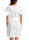 Cotton Beading V Neck Drop Shoulder Belted Waist Tunic Dress