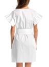 Vestido de la túnica de la cintura con cinturón de hombro con cuello en V rebordear algodón