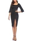 Solid Square Neck Half Sleeve High Split Bodycon Dress